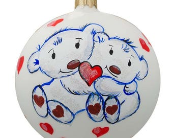 "4"" Two Bears in Love Glass Ball Christmas Ornament"