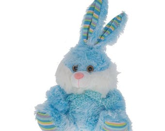 "13.5"" Plush Blue Easter Bunny"