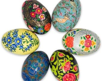 "3"" Set of 6 Flowers and Birds Ukrainian Wooden Easter Eggs"