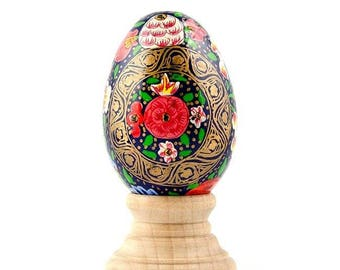 Nagaland Flowers Wooden Pysanky Easter Egg
