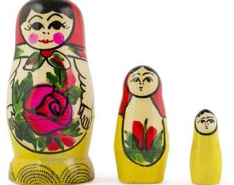 3'' Set of 3 Miniature Semenov Traditional Wooden Matryoshka Russian Nesting Dolls