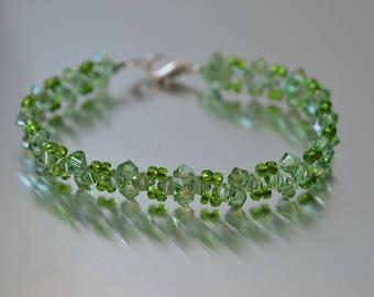 Swarovski crystal bracelet peridot ab