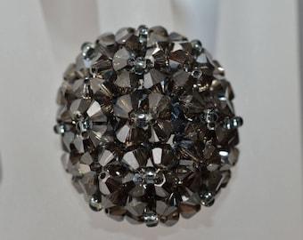 Crystal ring of Swarovski crystal ball metallic silver night 2x