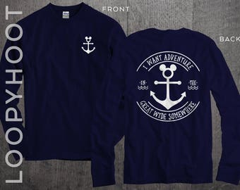 "Disney Cruise Shirts ""I Want Adventure in the Great Wide Somewhere"" Mouse Anchor Family Vacation long sleeve or short sleeve in NAVY BLUE"