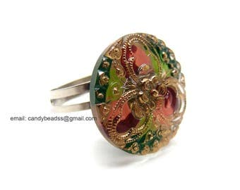 Czech glass button ring; adjustable ring; glass ring; green and gold ring