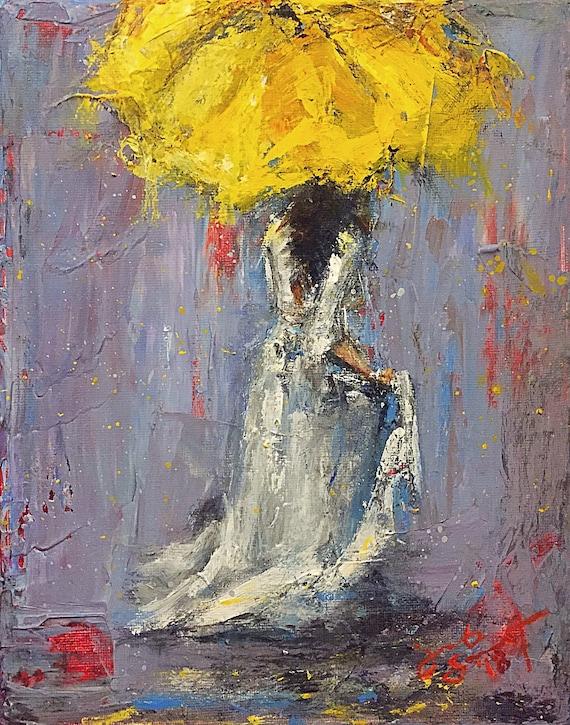 "Umbrella Girl - Untitled - 10""x8"" - Acrylic on Canvas"