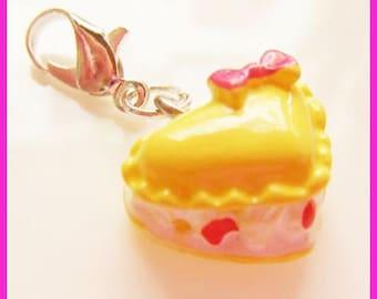 resin yellow kawaii cake charm's heart