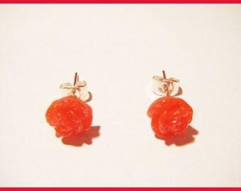 ♥ chip Flower Earrings red pink resin glitter ♥