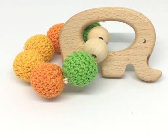 Elephant yellow, orange, green wooden beads rattle