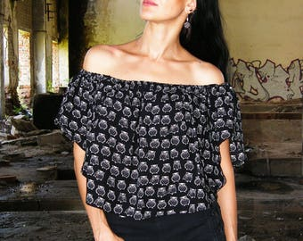 Black Top, Owls Print, Decollete, Decollete Top, Open shoulders
