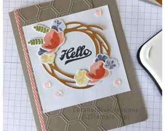 copper wreath floral birthday card handmade handstamped