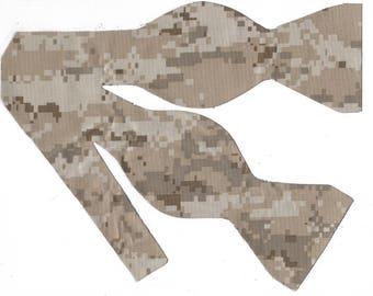 Digital Desert Sand Camo Self-tie Bow Tie | Camo bow ties | Digital Camo | Camouflage ties | Military bow ties | Desert Camo | Brown bow tie