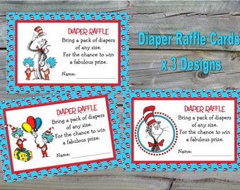 Dr Seuss Diaper Raffle Cards - Instant Download - Cat in the Hat Diaper Raffle Card, Thing One Thing Two Diaper Raffle Cards