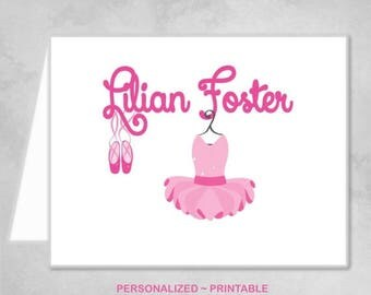 SALE Personalized Printable Ballerina Ballet Dancer Pink Thank You Note Cards Children Kids Girl Pink Ballet Birthday Party Thank You Cards