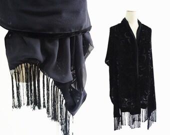 Paisley Double faces Silk velvet Georgette evening shawl large size flocking wrap black floral.Vintage women's scarf burnout wrap.P76A20