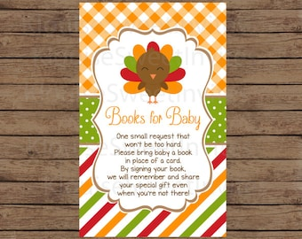 Printable Brown and Orange Fall Thanksgiving Turkey Baby Shower Book Request, JPEG 300DPI, 4x2.5 inches for Personal Use