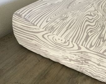 Woodland changing pad cover, woodgrain changing pad, changing pad cover, baby boy, woodland nursery, hunter, forest, gray and white bedding