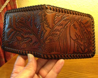 Vintage Western Hand-Tooled Leather Men's Wallet