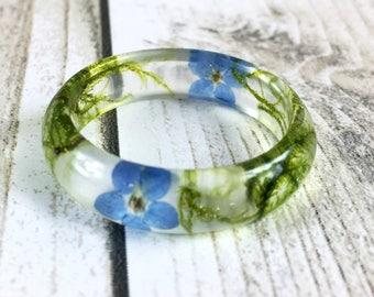 Resin ring-forest jewellery-forget me not ring-real moss ring-moss jewellery-resin jewelry-something blue-gift