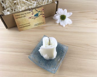 Candle gift set-beeswax candle-rose candle-mothersday gift-fused glass candle dish-bubble dish-gift for her