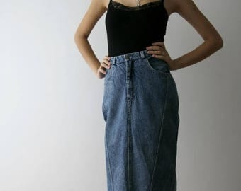 ON SALE Vintage 90s Washed Out Denim Midi Skirt Acid Wash High Waist Pencil Skirt Size Small