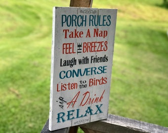 Porch Rules Rustic Sign , Porch Rules Wood Sign , Wood Sign for Porch , Rustic Porch Sign , Front Porch Rules , Back Porch Rules