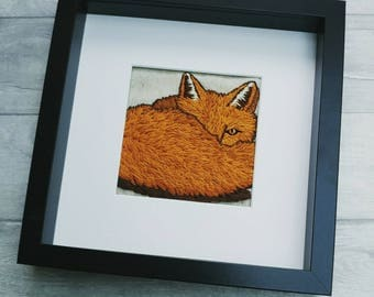 Fox embroidery hoop, hand embroidered, woodland animal present, gift for her, wall art, embroidery art, christmas gift, one of a kind, ooak