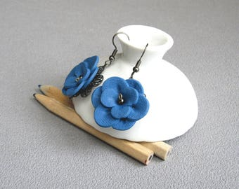 Blue jean flowers earrings set on a metal stamp, romantic baroque earrings, earrings flower relief in fimo polymer clay