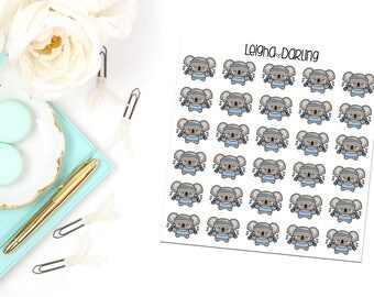 Weight Lifting Koala Planner Stickers
