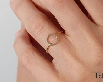 14k Solid Gold, Circle Gold Ring, Everyday Jewelry, Karma Ring, Unique Style, Geometric Gold Ring, Minimal Style, Yellow Gold Ring