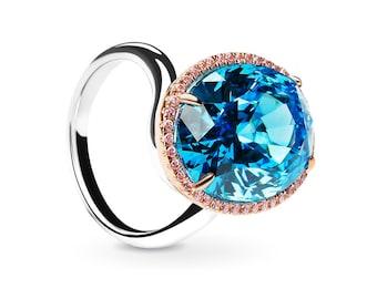 Sparkling Blue Topaz Oval Ring
