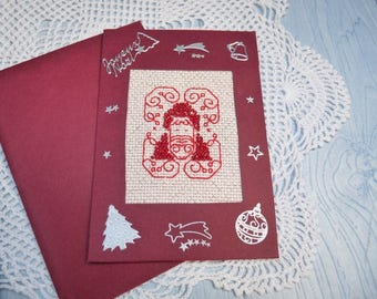 Card embroidered Pearl 228 hand made