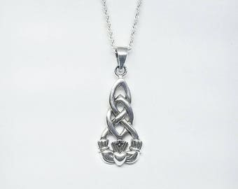 Claddagh Necklace~Silver Claddagh Pendant~Celtic Claddagh Necklace~Claddagh Knot Necklace~Knotted Necklace~Infinity Knot Charm~Gift for Her