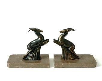 Vintage 1930's Art Deco Leaping Gazelle Bookends - Marble & Spelter - Marble Bookends - Metal Bookends - Deer Bookends - Art Deco Gazelle