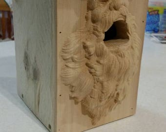 Carved front birdhouse - yelling viking