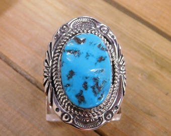 Large Sterling Silver Turquoise Ring Size 8.75