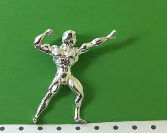925 sterling silver Bodybuilser pendant/925 sterling silver Bodybuilser charm/925 sterling silver chain/925 sterling silver nekclace