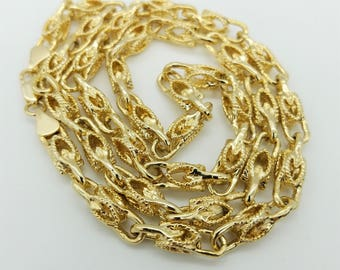 Vintage Heavy Link Gold Plated Modified Byzantine Link Necklace - 23.5""