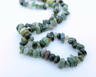 """Beaded Green Agate Necklace with Lobster Claw Clasp - 19"""""""