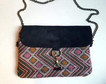 Vintage Tribal kilim and Navy Leather Clutch bag  / Shoulder bag / Boho Style Bag / Ethnic chic Clutch Bag / Original Women Bag