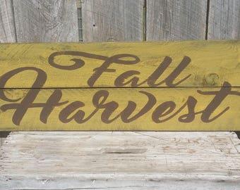 Fall Harvest Rustic Farmhouse Autumn Sign, Wood Decor Wall Art