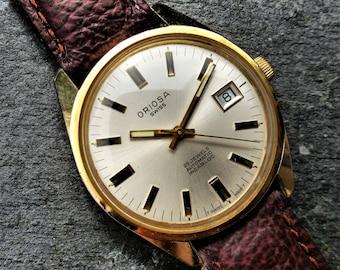 Vintage Swiss Mens Oriosa Watch, Montre Suisse, Gents Watch, Automatic Watch, Mechanical Gold Vintage, Boxed Watch, Husband Watch, Boyfriend