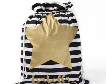 Gold Star Striped Personalised Santa Sack