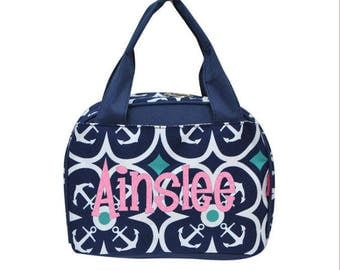 Nautical Anchor Lunch tote, Monogrammed lunch bag