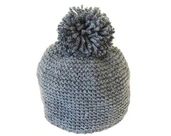 Blue wool baby Hat grey with big tassel 3/6 months - baby - blue grey Beanie Hat