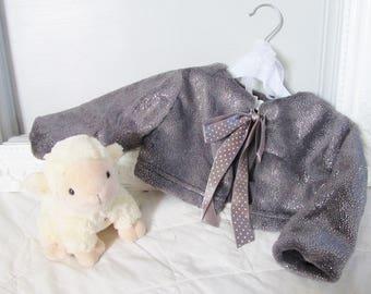 Baby jacket / bolero fleece grey shiny soft for baby / baby vest