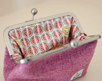 Harris Tweed Clasp purse// Clutch Purse// Fabric Purse / Frame purse
