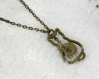 Collier Chat personnalisable bronze - Once Upon a Fantasy