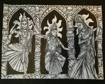 The Devi Trinity, An A4 Pen and Ink Print
