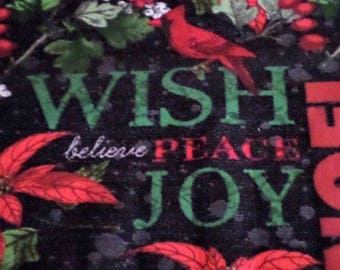Holiday Warm Wishes, Christmas Fabric, Poinsettias, Cardinals,  Sold by the yard
